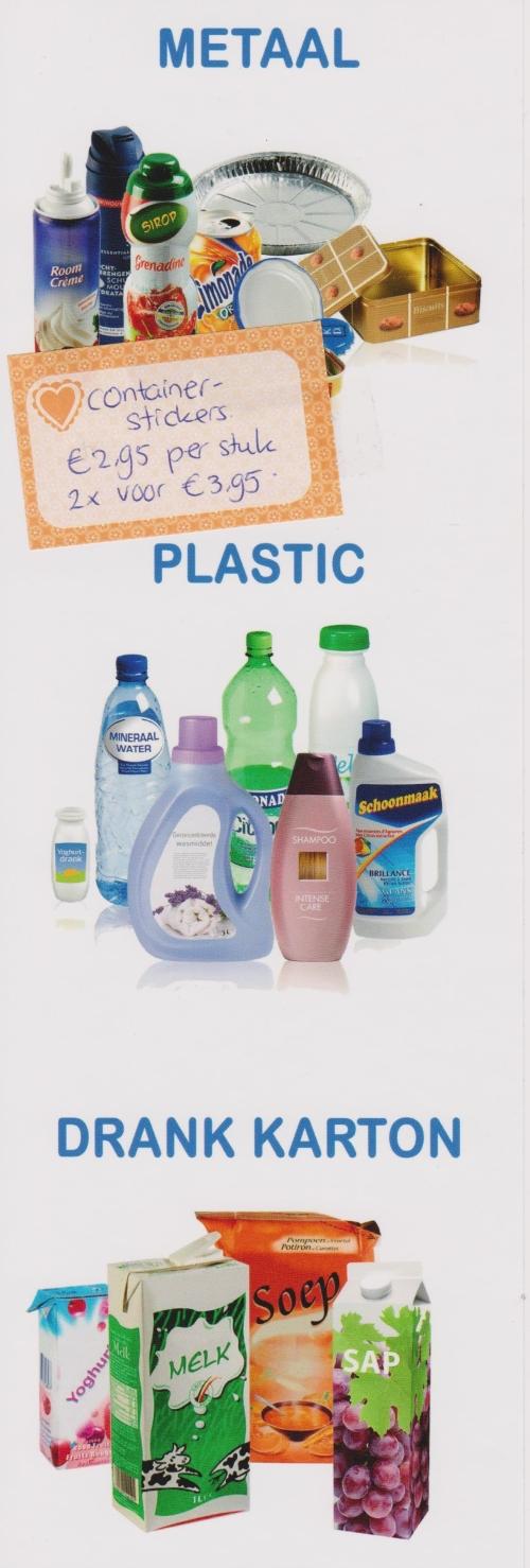 Langwerpige containersticker als hulp bij het scheiden van afval